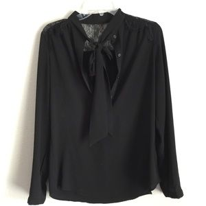 Mossimo Black Long Sleeve Neck Tie Blouse Small